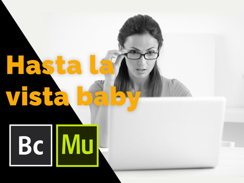 Adobe Muse and Catalyst are closing down women looking shocked at her laptop