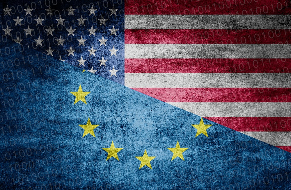 Flag of USA and Europe joined together