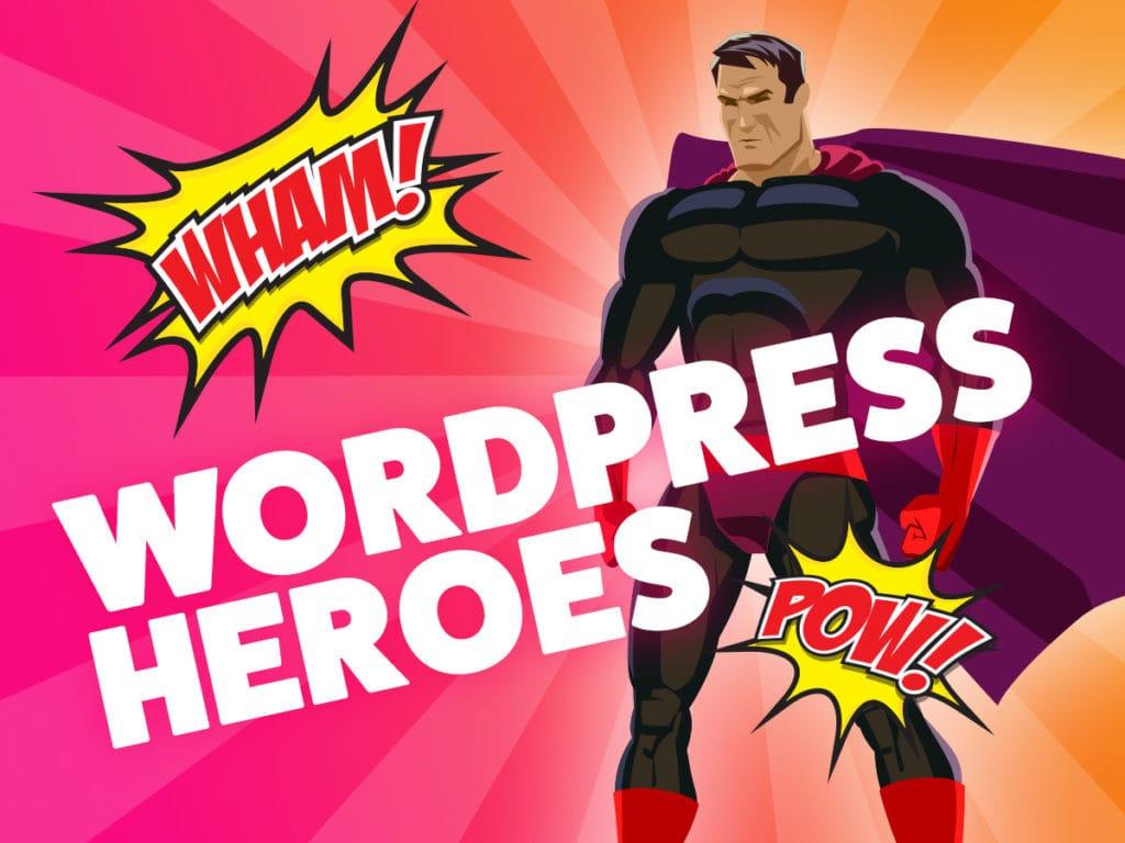 super hero looking at wordpress logo