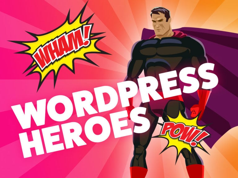 super hero looking at wordpress logo