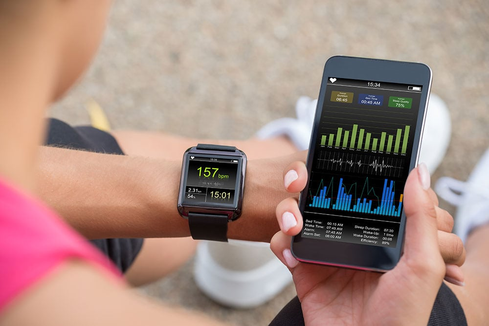smartphone attached to smartwatch