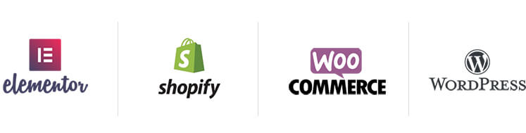 website design tools logos - elementor - shopify - wordpress - woo commerce