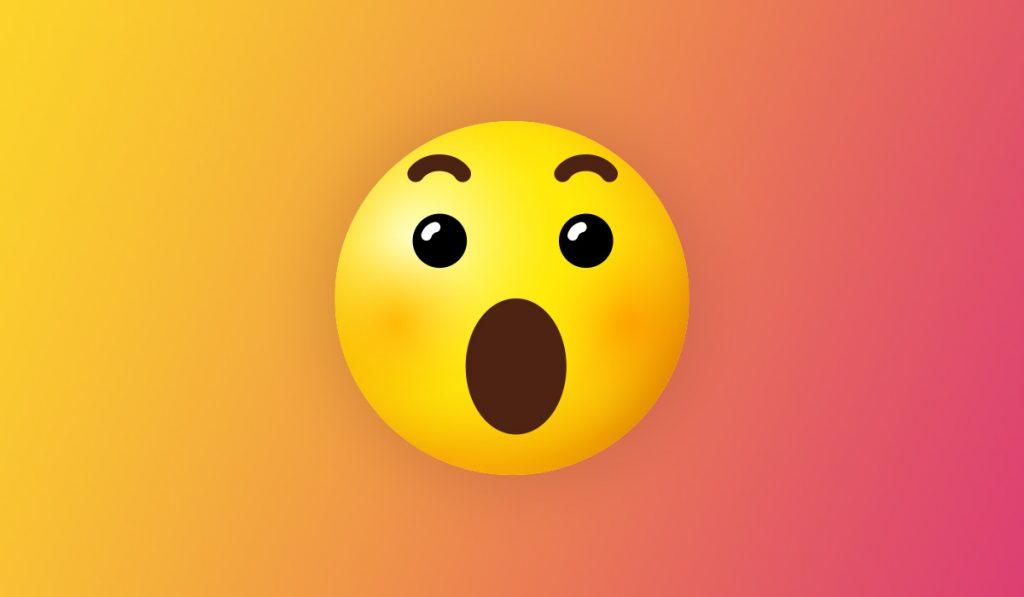 shocked emoticon on colorful background